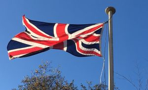 Union Flag flying over St Peter's Church, Formby
